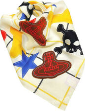 Vivienne Westwood Cotton Handkerchief Orb Skull Star Tartan +Orb Applique-50cm