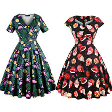 Plus Size Retro Vintage Cap Sleeve Swing Pin up Dress Hepburn 50's Rockabilly