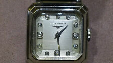 LONGINES Mens Vintage watch 14kt white gold with diamonds