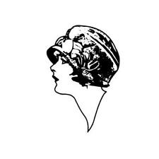 PROFILE of FLAPPER woman unmounted rubber stamp, sm., lady in hat, fashion #2