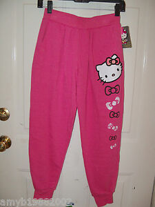 Hello Kitty Pink Sweat Pants Size Large Girl's NEW LAST ONE