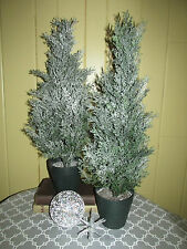 "2 Flocked 24"" Cedar Topiary Mini Artificial Christmas Trees in Weighted Pots"