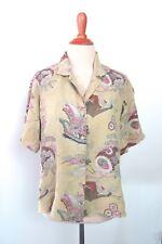 ad07c972040 Citron Santa Monica Asian Crane Motif Green Silk Shirt Blouse L Dragon Boats