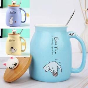 420ML Cat Kitten Ceramic Coffee Mug Tea Milk Water Cup Handle Lid Birthday Gift