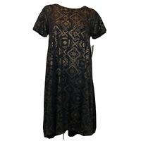 Lularoe Carly dress size small black knit gold metallic pattern Women's New