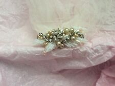 Wedding Pearl + Jewel Fasinator Hair piece Clip Removeable Off White Tulle Veil