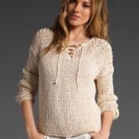 Women's VINCE Knitted by Hand Lace Up Sweater LS Thin Knit Cream Size Medium