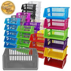 Multi Purpose Large Plastic Colour Storage Rack Stand Stacking Stackable Baskets