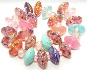 "Sistersbeads ""M-Pink Plum"" Handmade Lampwork Beads"