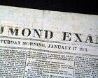 Rare CAPITAL OF THE CONFEDERACY Richmond VA Virginia Civil War 1863 Newspaper