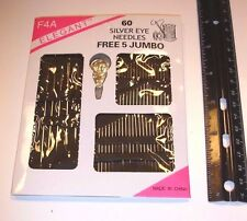 Set 60pc Stainless Steel Big Eye Sewing Needles Set with Different Sizes US sell