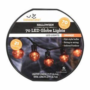 Way to Celebrate Halloween Orange 70-Count Indoor Outdoor LED Globe Lights