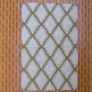 Beige Color Diamond Shape Bedroom Rugs Navajo 4'x6' Decorative Carpet Wool Kilim