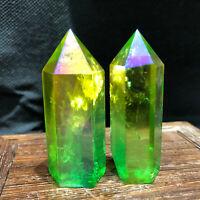 Titanium Rainbow Aura Lemurian Quartz Crystal Obelisk Point healing 2PC40-60g