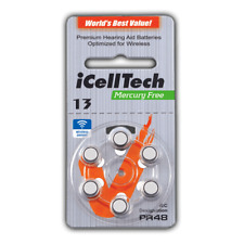 iCell Tech Size 13 Hearing aid Batteries (120 batteries)with FREE Battery Caddie