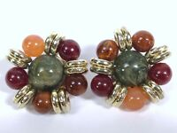 Vintage Beaded Chunky Earrings Statement Clip On Gold Tone Greens Reds