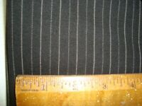 "4.83 yd Luxury WOOL Suiting Fabric 10 oz Super fine Black Stripe 174"" BTP"