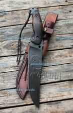 AMAZING HANDMADE CARBON STEEL TACTICAL FIGHTING HUNTING BOWIE KNIFE & SHEATH