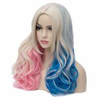 Hot Suicide Squad DC Comics Harley Quinn Cosplay Wig Pink Blue Gradient Hair New