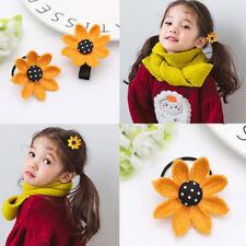 4Pcs/Set Cute Kids Sun Flower Hair Clips And Hair Rope Family Children Hairpins