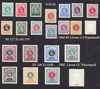Natal set of 20 sg127 - 145b (forgeries)