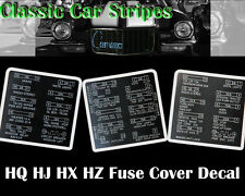 Fuse Cover Lid Decal to suit HQ HJ HX HZ Sandman GTS SS
