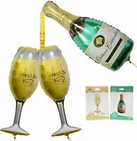 Cheers! Champagne Bottle Glass Foil Balloons Happy Birthday&Wedding Party Decors