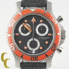Sturhling Stainless Steel Chronograph Quartz Watch w/ Black Silicone Band