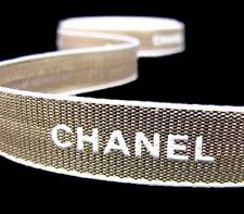"100% Authentic Genuine Chanel Gold White Gift Wrapping Ribbon 5/8""W"