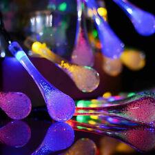 Solar LED Lichterkette Wassertropfen Garten Licht Innen Außen Party Lampe Deko