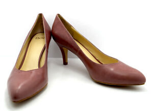 Noe Womens High Heel Pumps Court Shoes Leather Brown Pink (Confetto) UK 8/ EU 41