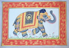 DECORATED ELEPHANT HAND MADE MINIATURE PAINTING FROM RAJASTHAN INDIA!