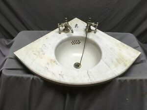 "Antique Corner Marble Sink Viterous 12"" Round China Basin Old Vintage 75-19E"