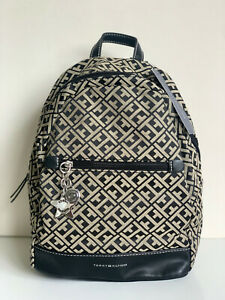 NEW! TOMMY HILFIGER BLACK / NATURAL TRAVEL BACKPACK BAG PURSE $89 SALE
