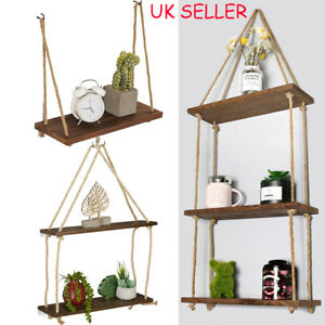 Hanging Rope Shelf Wooden Wall Mounted Floating Shelf Storage Rustic 1/2/3 Tiers