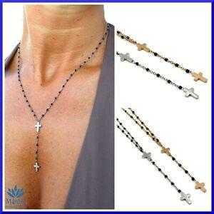 Collana da per donna girocollo rosario croce in acciaio inox rosari oro argento