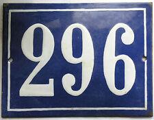 Large old French house number 296 door gate plate plaque enamel steel metal sign