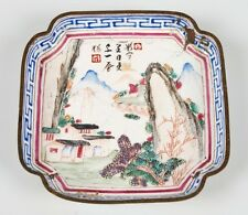 ANTIQUE  18TH C. CHINESE ENAMEL ON COPPER TRINKET TRAY FAMILLE ROSE STYLE