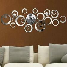 Wall Clock Quartz DIY Acrylic Mirror 3D Stickers Needle Living Rooms Time Clocks