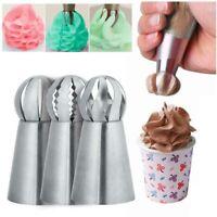 3Pcs Cream Icing Piping Nozzles Tips Cake Decor Pastry Cupcake Baking Tool