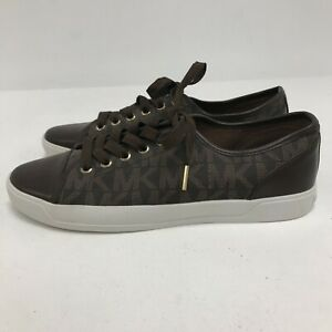 New Michael Kors Trainers Women's UK 8 Brown Faux Leather Monogram Shoes 181413