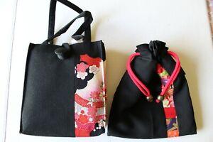 Japanese Kimono Bag Kinchaku Embroidered Brocade Tote Purse with Drawstring Bag