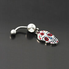 Hot Sale Painted Skull Navel Belly Button Ring Barbell Body Piercing Jewelry