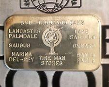 Tire Man Stores 999 SILVER ART BAR 1 Troy oz Rare Commercial Ingot USSC-143H