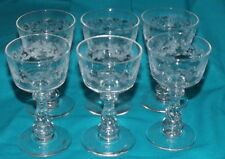 Vintage glass etched wine goblets set of 6 goblets 4 1/2 inch floral with swirl
