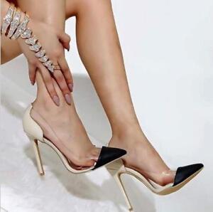 Women's High Stilettos Heels Court Shoes Clear transparent Formal Office Shoes