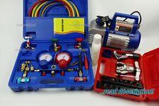 Refrigerant Vacuum Pump + Gauge manifold Set Kit R32 R290 R600a Split AC tool