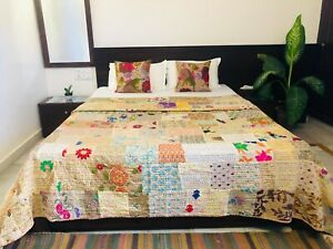 Indian Traditional Silk King-size Patch Work Kantha Bedspread - Beige Bedcover