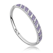 18K White Gold Plated made with Swarovski Crystal Elements Bracelet Bangle.