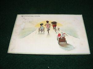 VINTAGE POSTCARD ART FLORENCE UPTON CHILDREN BLACK TOY DOLL CYCLING TUCK LITHO